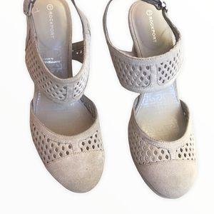 ROCKPORT Beige Suede Close Toe Pump Heels Size 8.5